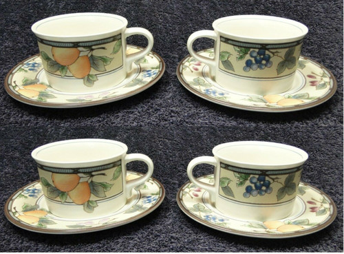 Mikasa Intaglio Garden Harvest Mugs Cups Saucers CAC29 Set of 4 | DR Vintage Dinnerware and Replacements