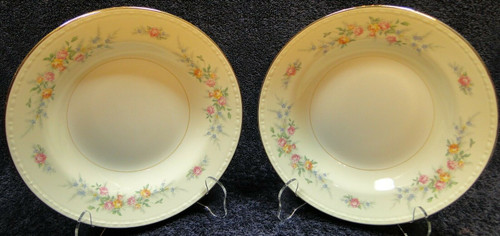 "Homer Laughlin Georgian Cashmere Soup Bowls 8 1/4"" Rimmed Set of 2 