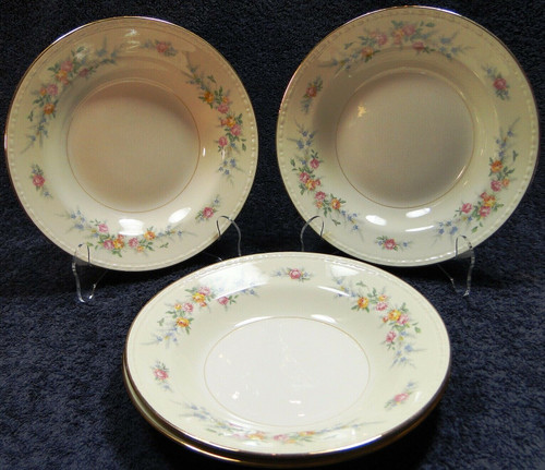 "Homer Laughlin Georgian Cashmere Soup Bowls 8 1/4"" Rimmed Set of 4 