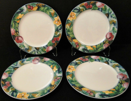 """Mikasa Ultima Plus Fruit Collage Salad Plates 7 3/4"""" HK 107 Set of 4 