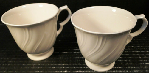 Nikko White Satin Footed Tea Cups 860 Set of 2 | DR Vintage Dinnerware Replacements