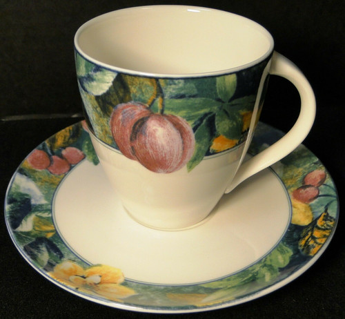 Mikasa Ultima Plus Fruit Collage Tea Cup Mug Saucer Set HK 107 | DR Vintage Dinnerware and Replacements