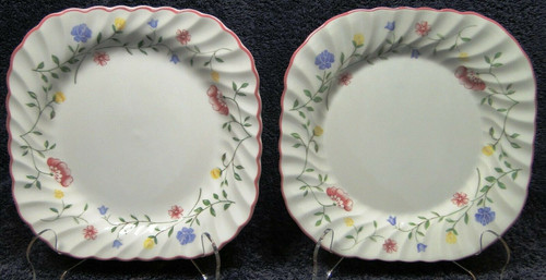 Johnson Brothers Summer Chintz Square Salad Plates 7 1/2 Set of 2 Excellent