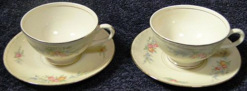 Homer Laughlin Eggshell Georgian Cashmere Tea Cup Saucer Sets 2 | DR Vintage Dinnerware Replacements