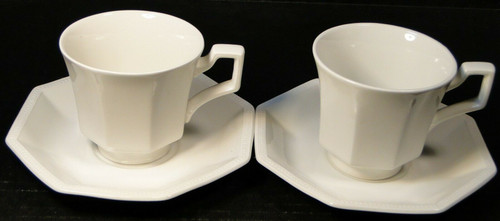 Johnson Brothers Heritage Ironstone White Tea Cup Saucer Sets 2 | DR Vintage Dinnerware and Replacements