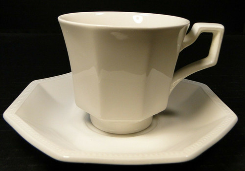 Johnson Brothers Heritage Ironstone White Tea Cup Saucer Set | DR Vintage Dinnerware and Replacements
