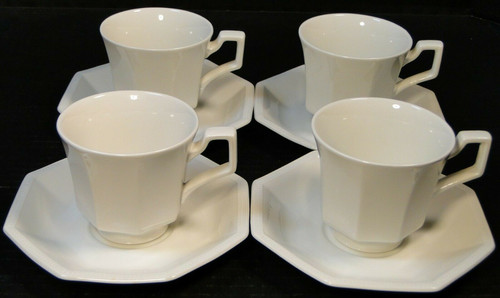 Johnson Brothers Heritage Ironstone White Cup Saucer Sets 4 Excellent