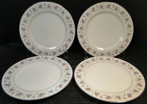 """Fine China of Japan Corsage Dinner Plates 10 1/2"""" 3142 Set of 4 Excellent"""