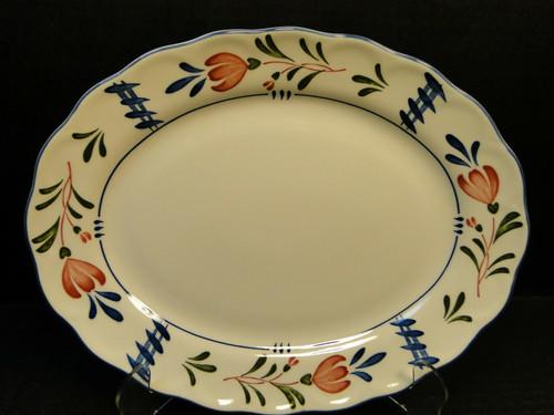 "Nikko Avondale Oval Platter 11 7/8"" Provisional Designs Japan Red Blue Excellent"