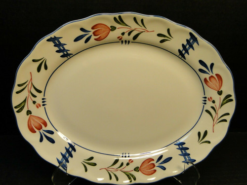"""Nikko Avondale Oval Platter 11 7/8"""" Provisional Designs Japan Red Blue 