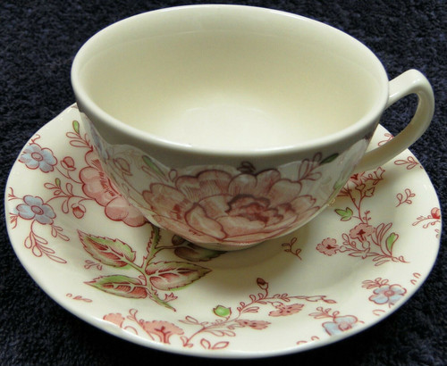 Johnson Brothers Rose Chintz Tea Cup Saucer Set Pink Roses Black Mark | DR Vintage Dinnerware and Replacements