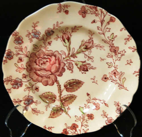 """Johnson Brothers Rose Chintz Bread Plate 6 1/4"""" Green Mark Pink Roses Excellent"""