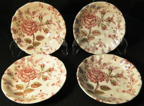 Johnson Brothers Rose Chintz Saucers Pink Roses Black Mark Set of 4 | DR Vintage Dinnerware and Replacements