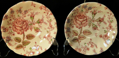 Johnson Brothers Rose Chintz Saucers Pink Roses Green Mark Set of 2 | DR Vintage Dinnerware and Replacements