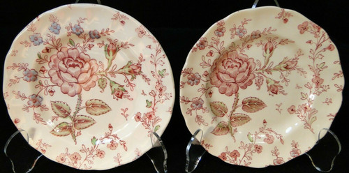 """Johnson Brothers Rose Chintz Bread Plates 6 1/4"""" Black Mark Set of 2 Excellent"""