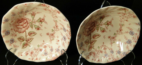 """Johnson Brothers Rose Chintz Cereal Bowls 6 1/4"""" Black Mark Set of 2 Excellent"""