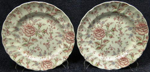 """Johnson Brothers Rose Chintz Dinner Plates 9 7/8"""" Pink Mark Set of 2 Excellent"""