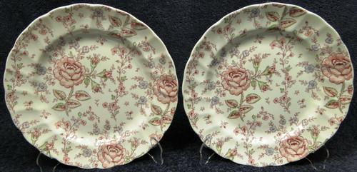 "Johnson Brothers Rose Chintz Dinner Plates 9 7/8"" Black Mark Set of 2 Excellent"