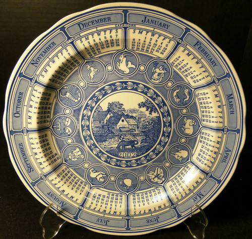 "Spode Blue Room Calendar 2002 Dinner Plate 10 3/8"" Rural Scenes Excellent"