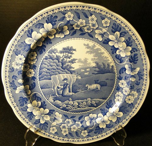 "Spode Blue Room Collection Dinner Plate 10 3/8"" Milkmaid Traditions Excellent"