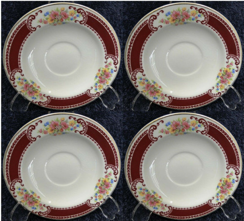 Homer Laughlin Brittany B1315 Saucers Gold Trim Set of 4 Rare Excellent