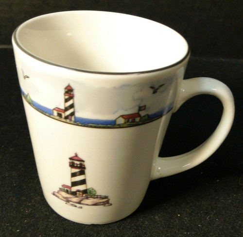 """Todays Home Lighthouse Cup Mug 3 5/8"""" Tall Coastal Scenes Nautical Excellent"""
