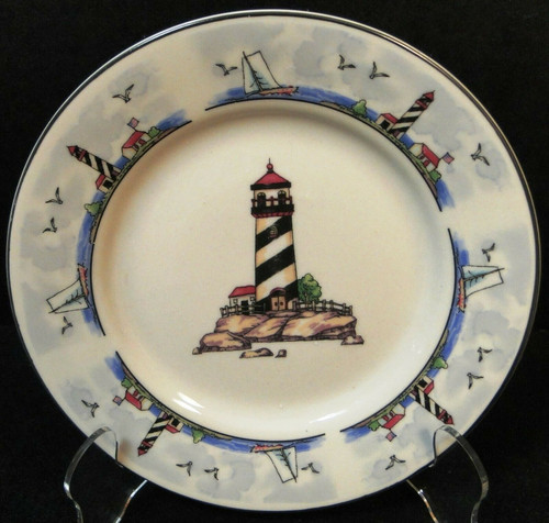 """Todays Home Lighthouse Bread Plate 6 7/8"""" Coastal Scenes Nautical Excellent"""