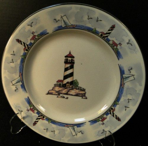 """Todays Home Lighthouse Dinner Plate 10"""" Coastal Scenes Nautical Excellent"""