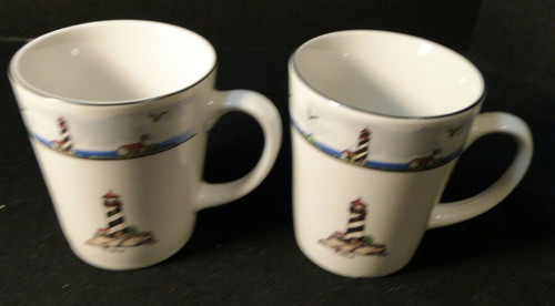 """Todays Home Lighthouse Cups Mugs 3 5/8"""" Tall Coastal Scenes Set of 2 Excellent"""