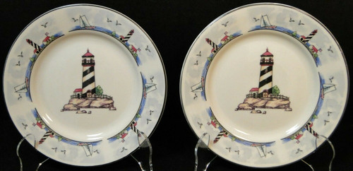 """Todays Home Lighthouse Bread Plates 6 7/8"""" Coastal Scenes Set of 2 