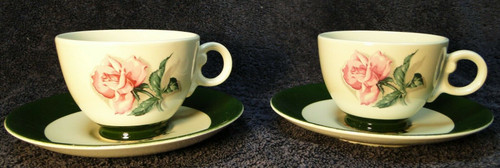Taylor Smith Taylor Pink Rose Green Band Tea Cup Saucer Sets TST15 2 | DR Vintage Dinnerware and Replacements