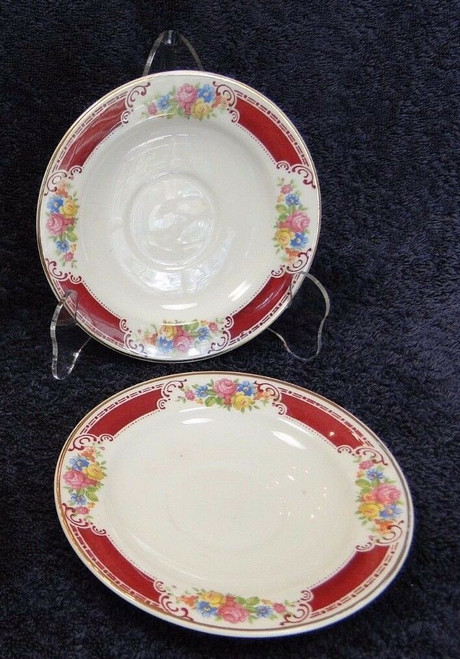 "Homer Laughlin Brittany Majestic Saucers 6"" Set of 2 Excellent"