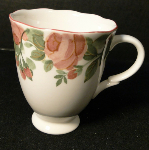 "Nikko Precious Footed Coffee Mug Pink Roses 3 7/8"" Tall 