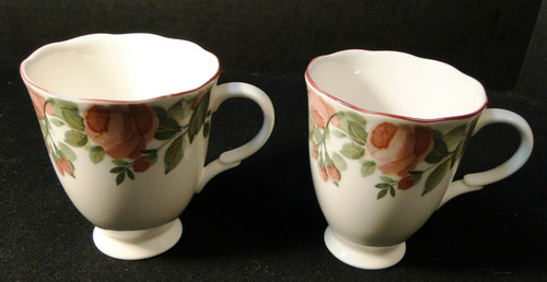 "Nikko Precious Coffee Mugs Pink Roses 3 7/8"" Tall Set of 2 