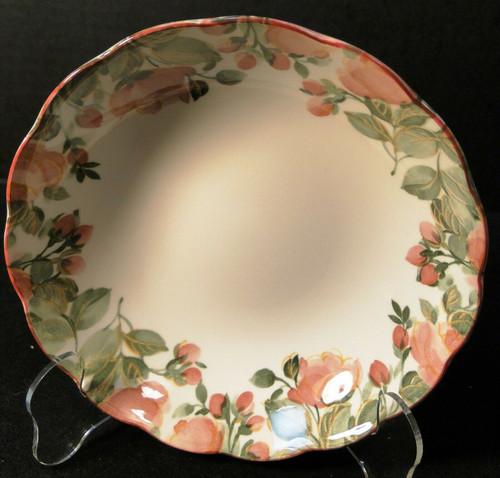 "Nikko Precious Cereal Bowl 6 3/4"" Pink Roses Original Tags Excellent"