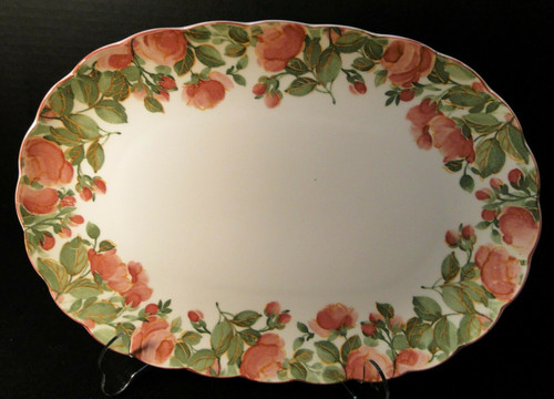 "Nikko Precious Oval Serving Platter 13 1/4"" Pink Roses Original Tags Excellent"