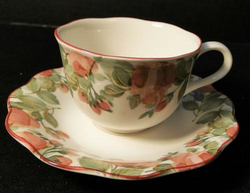 Nikko Precious Tea Cup Saucer Set Pink Roses Excellent