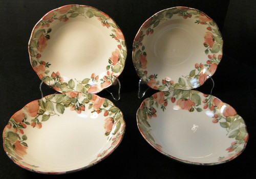 "Nikko Precious Cereal Bowls 6 3/4"" Pink Roses Original Tags Set of 4 Excellent"