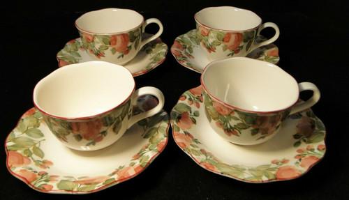 Nikko Precious Tea Cup Saucer Sets Pink Roses 4 Excellent