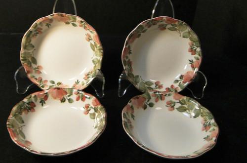"Nikko Precious Berry Bowls 5 1/4"" Pink Roses Original Tags Set of 4 Excellent"