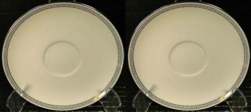 Noritake Silver Key Saucers 5941 White Platinum Trim Set of 2 Excellent