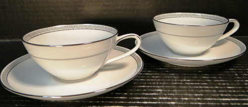 Noritake Silver Key Tea Cup Saucer Sets 5941 White Platinum Trim 2 Excellent