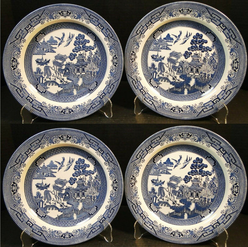 Churchill Blue Willow Dinner Plates 10 1/4 England Set of 4 | DR Vintage Dinnerware and Replacements