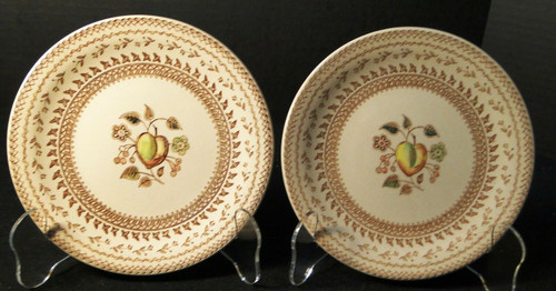 "Johnson Brothers Fruit Sampler Bread Plates 6 1/2"" Old Granite Set 2 