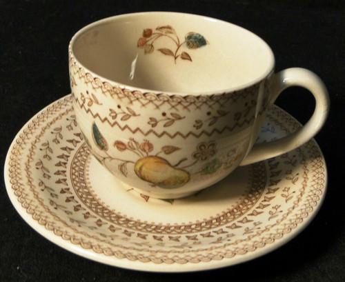 Johnson Brothers Fruit Sampler Tea Cup Saucer Set Old Granite Excellent