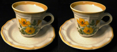 Mikasa Petunias Tea cup Saucer Sets EC 401 Garden Club 2 Excellent