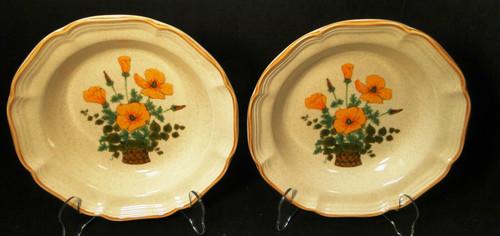 """Mikasa Petunias Soup Bowls 8 1/2"""" EC 401 Garden Club Set of 2 Excellent"""