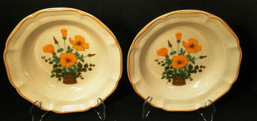 "Mikasa Petunias Soup Bowls 8 1/2"" EC 401 Garden Club Set of 2 