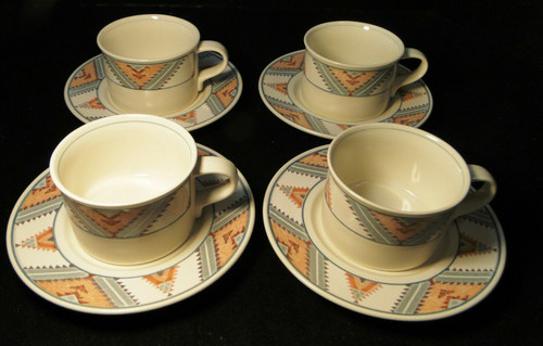 Mikasa Santa FE Tea Cup Saucer Sets CAC24 Intaglio Southwest 4 | DR Vintage Dinnerware and Replacements