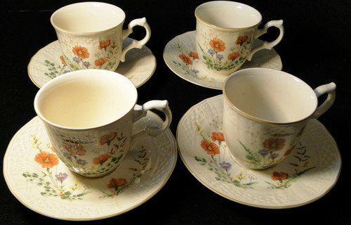 Mikasa Margaux Tea Cup Saucer Sets D1006 Fine Ivory 4 | DR Vintage Dinnerware and Replacements